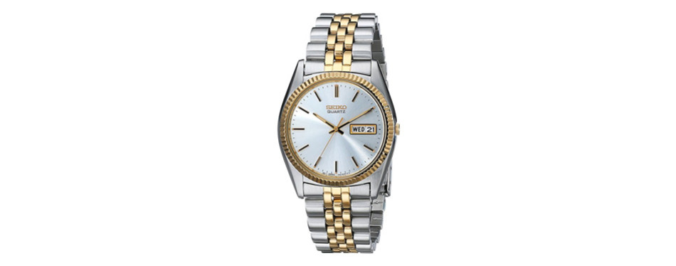 seiko stainless steel two-tone watch