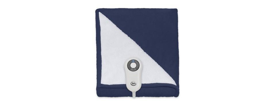 serta reversible sherpa fleece heated electric throw blanket