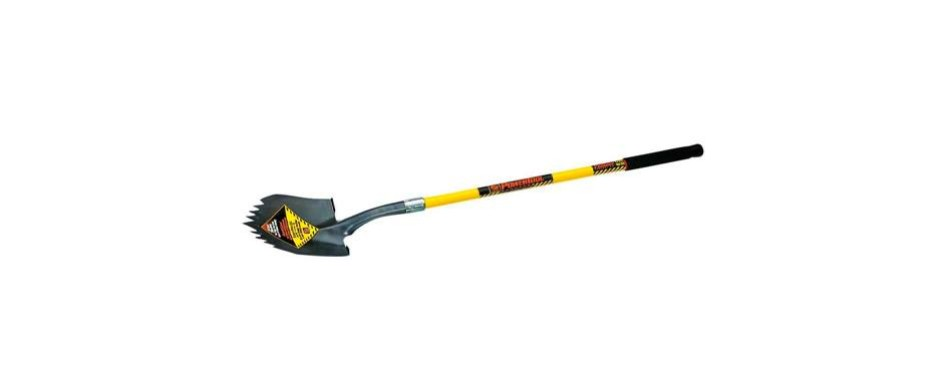seymour s710 48-inch long fiberglass handle notched super shovel round point