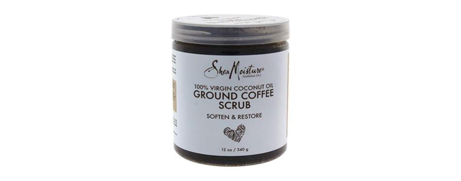 shea moisture 100% virgin coconut body oil for unisex, coffee scrub