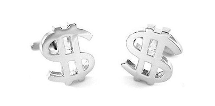 silver dollar sign currency cufflinks