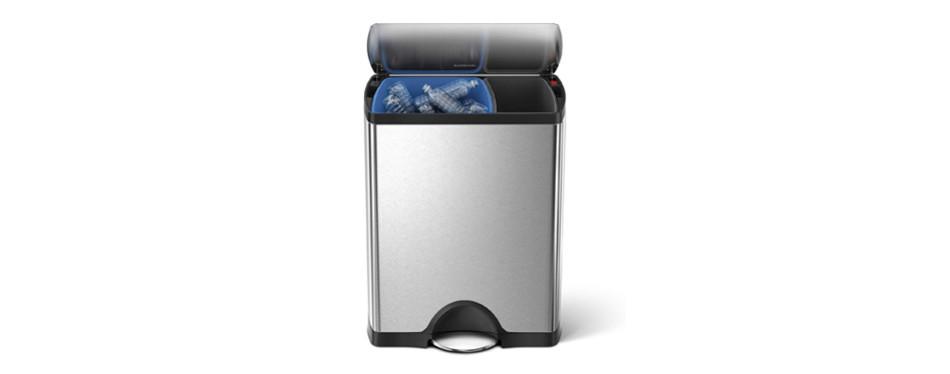 simplehuman 12.2 Gallon Dual Compartment Step Trash Can