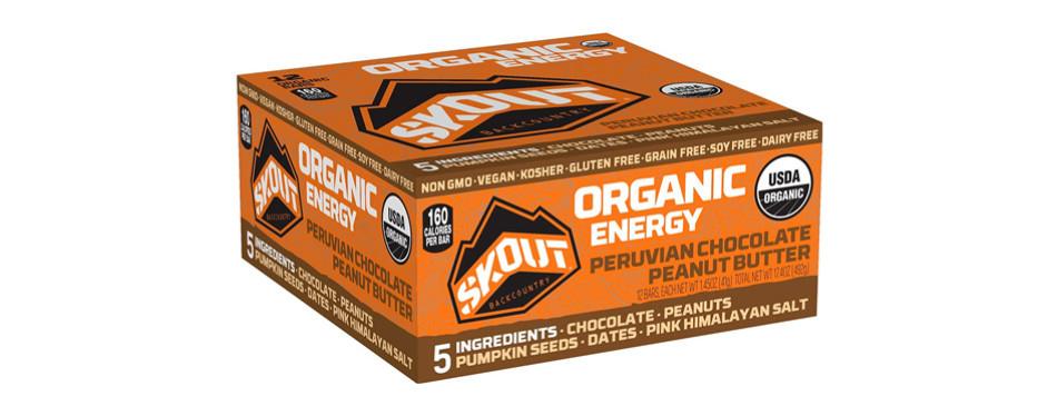 skout organic energy bar, peruvian chocolate peanut butter