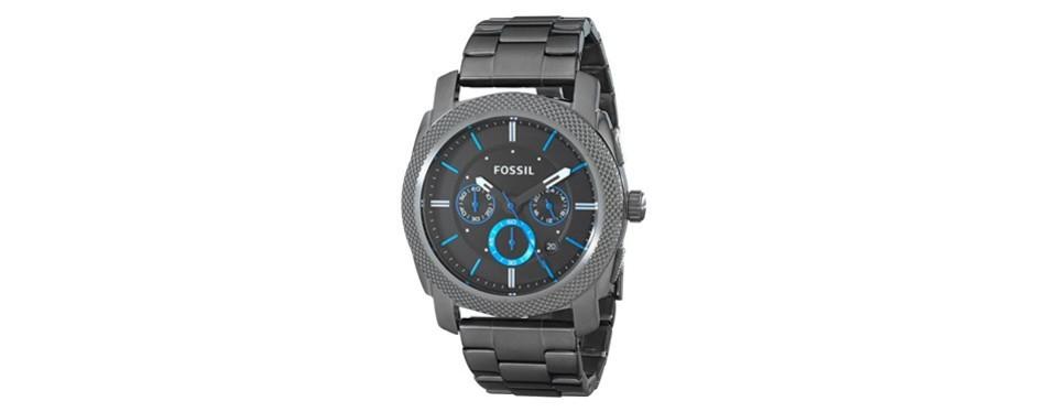smoke and blue chronograph watch