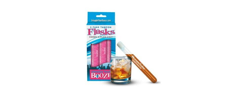 smuggle your booze with 10 tampon flasks and 10 sleeves