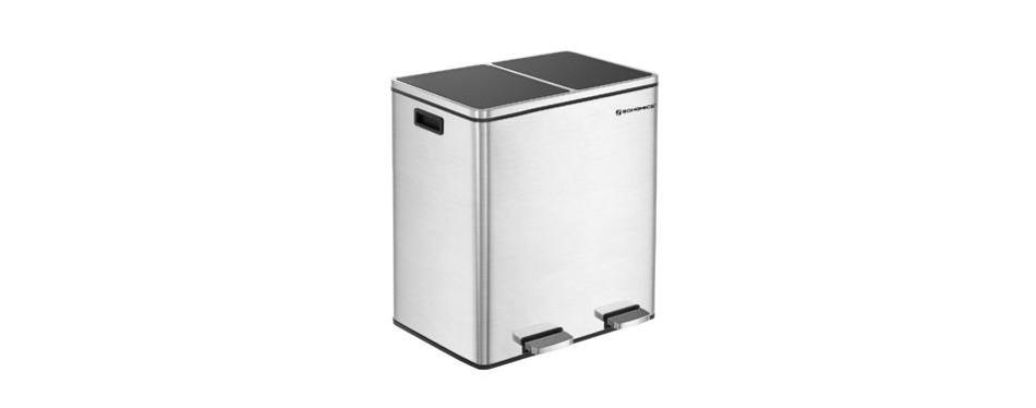 songmics 16 gallon double recycle pedal bin