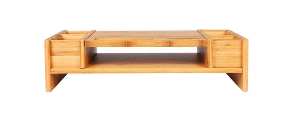 songmics bamboo 2-tier riser
