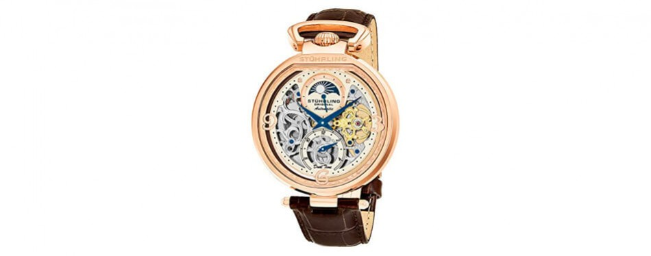stührling original men's analog display rose gold watch