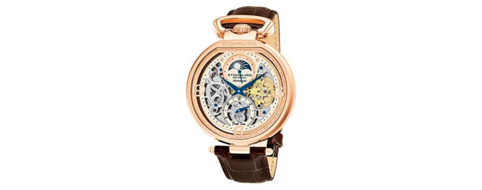 stührling original men's analog display rose gold watch