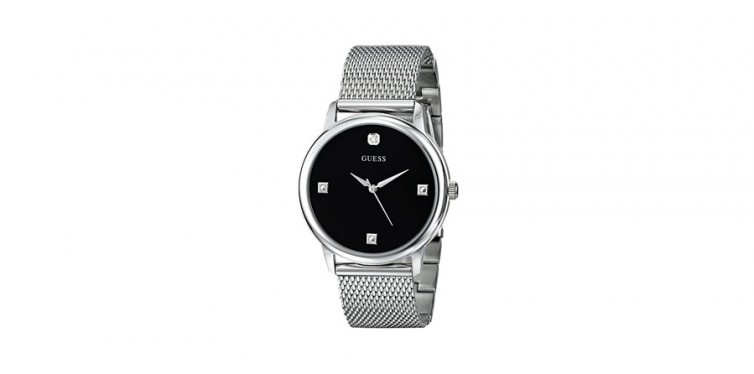 stainless steel diamond dial watch by guess