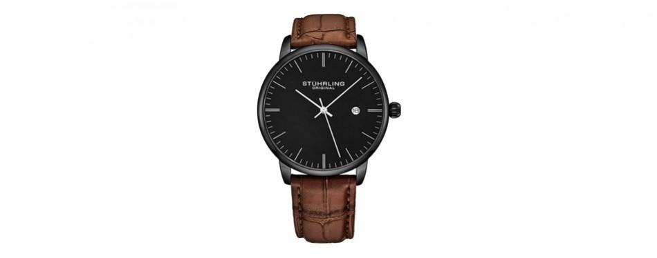 stuhrling original calfskin leather dress watch