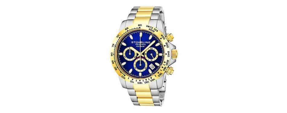 stuhrling original men's sport chronograph watch - stainless steel brushed matte bracelet, 891 formula