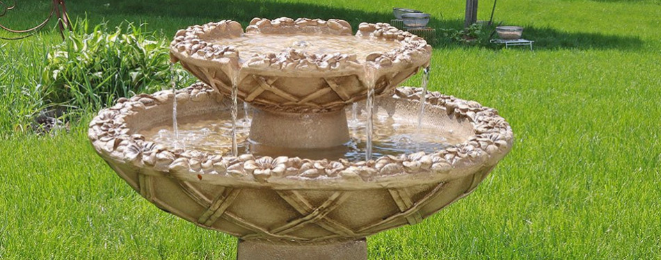 sunnydaze beveled flower 2-tier bird bath