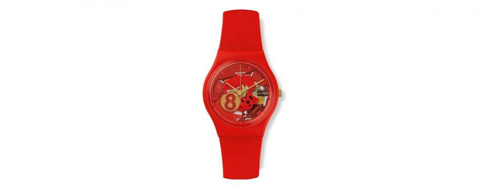 swatch boy's gent red silicone swiss quartz watch