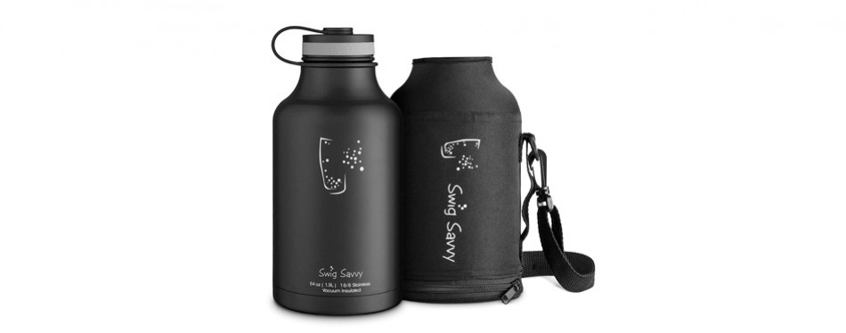 swig savvy stainless steel insulated water bottle and beer growler