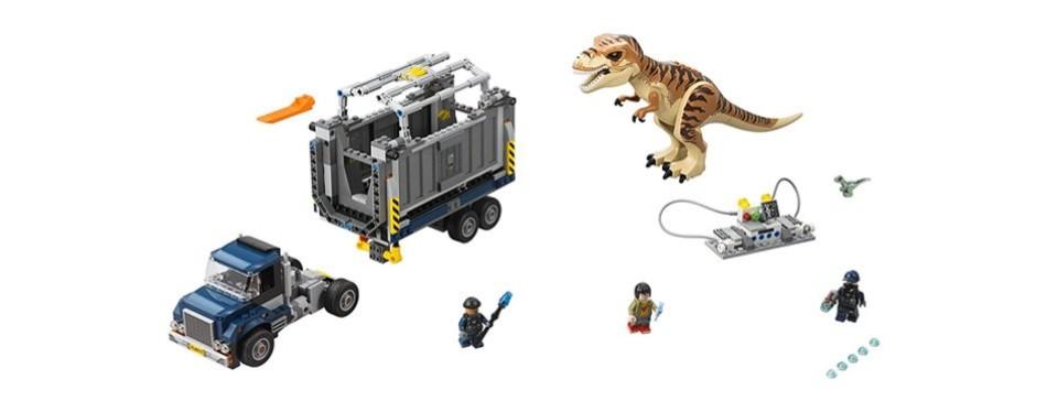 t-rex transport lego jurassic world set