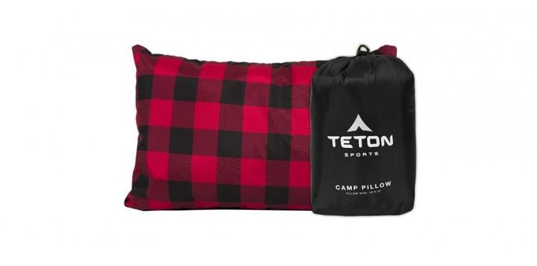 teton sports camping pillow in plaid