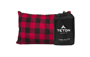 teton sports camping pillow in plaid