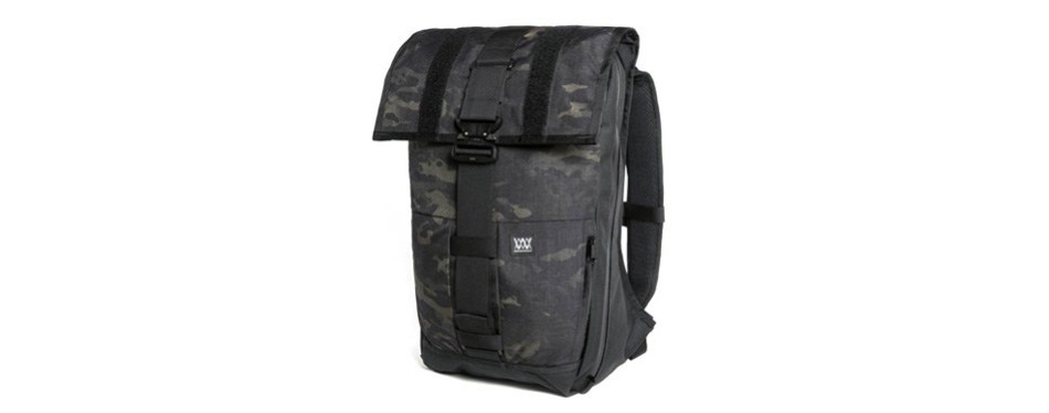 the rambler black camo expandable backpack
