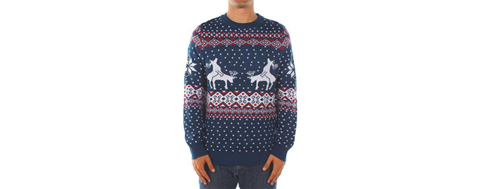 tipsy elves reindeer climax christmas jumper in blue