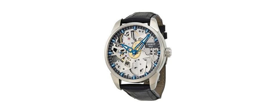 tissor men's t-complication swiss mechanical stainless steel watch