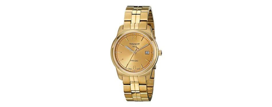 tissot men's t0494103302700 pr100 gold dial watch