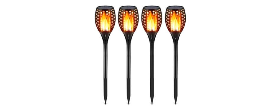 tomcare waterproof flickering flames solar lights