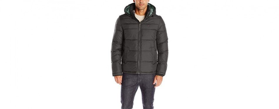 tommy hilfiger men's classic hooded puffer winter jacket