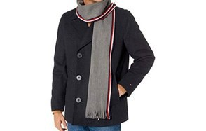 tommy hilfiger men's wool melton classic double breasted peacoat