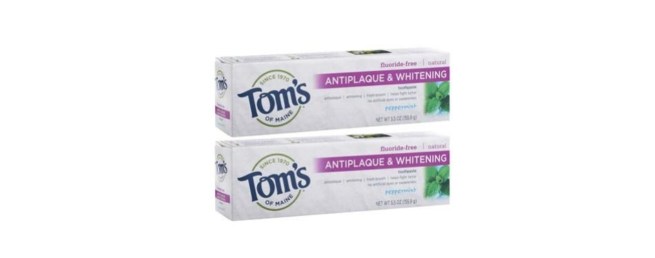 tom's of maine antiplaque fluoride-free teeth whitening toothpaste