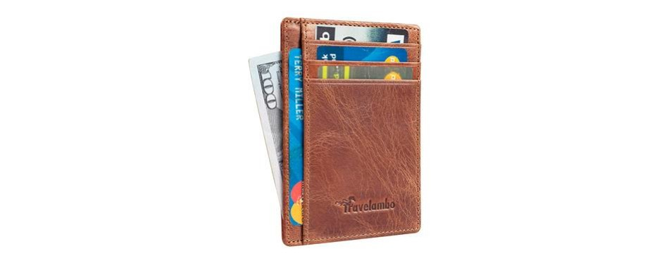 travelambo leather slim wallet