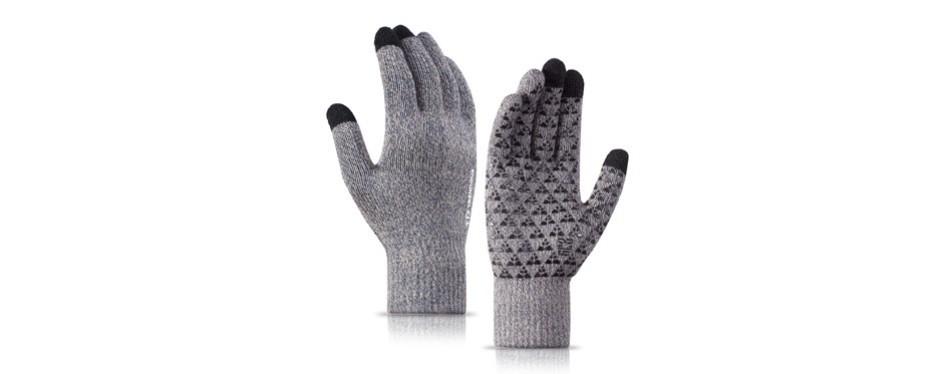 trendoux knit touch screen anti-slip winter gloves