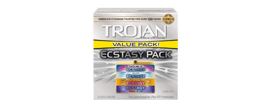 trojan ecstasy pack lubricated condoms