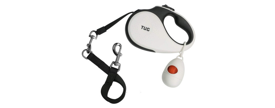 tug patented 360° tangle-free, heavy duty retractable dog leash