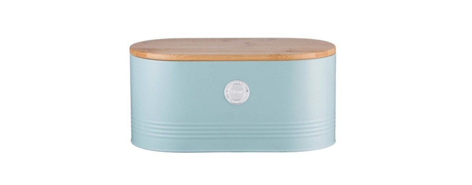 typhoon living carbon steel bread bin with bamboo lid