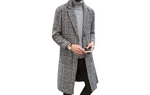 uaneo single breasted plaid men's peacoat