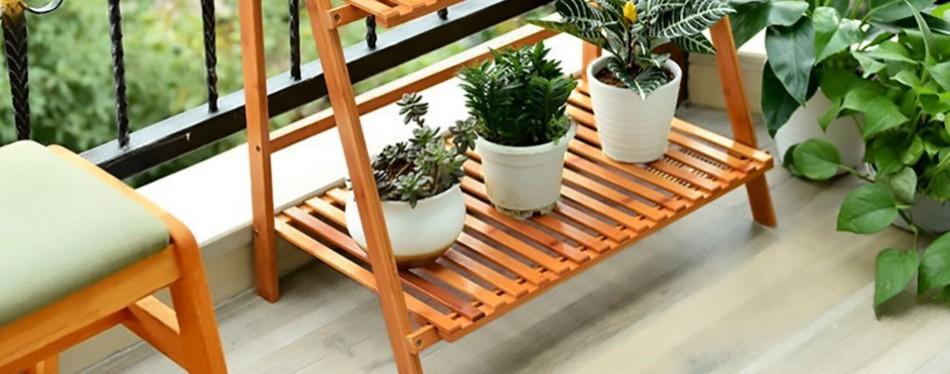 ufine bamboo wood ladder 3 layer plant stand shelf