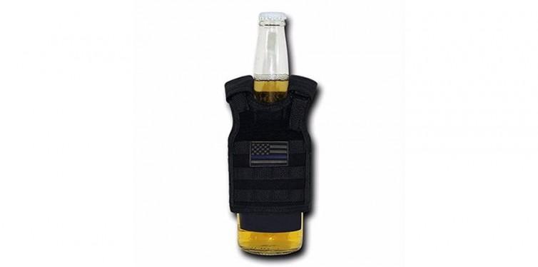 USA Thin Blue Line Flag Black Miniature Tactical Vest Beverage Holder