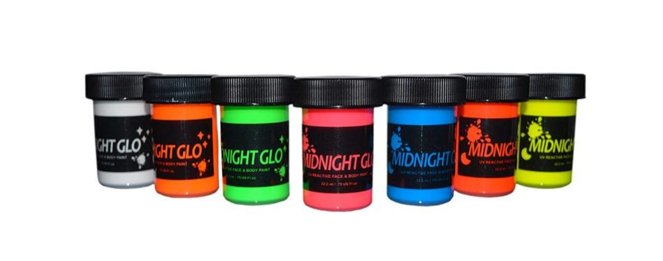 uv neon face & body glow in the dark paint kit