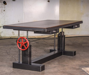 vintage industrial crank sit stand desk