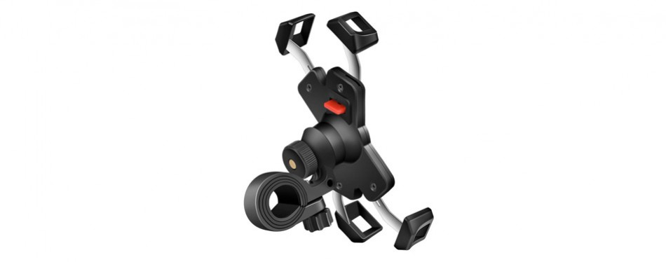 visnfa new bike phone mount with stainless steel clamp arms anti shake