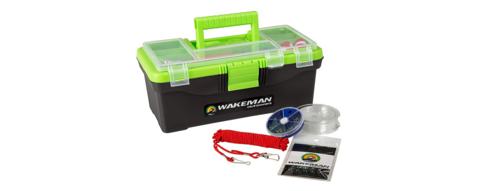 wakeman fishing tackle box and 55 pc tackle kit