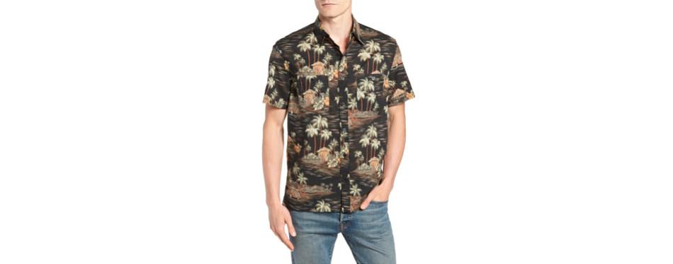 wallace & barnes tropic print hawaiian shirt