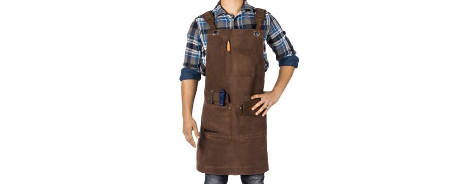 waxed canvas heavy duty shop apron