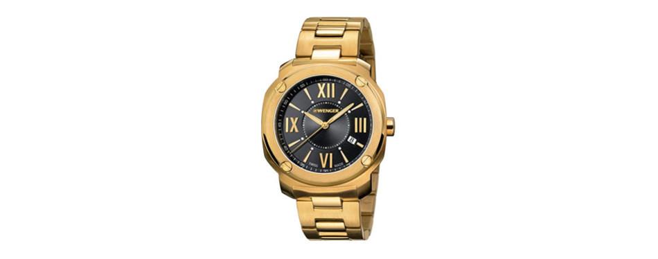 wenger edge romans black dial stainless steel men's watch 011141123