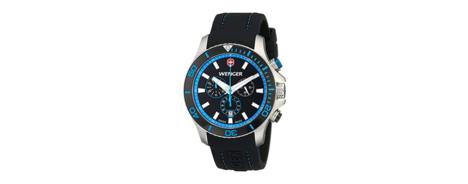 wenger men's 0643.103 analog display swiss quartz black watch