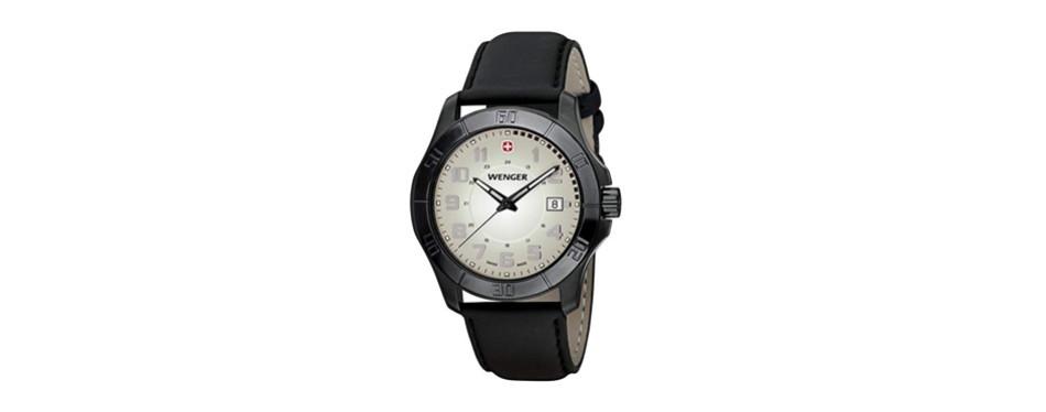 wenger men's 70474 alpine moss-green dial black rubber strap watch