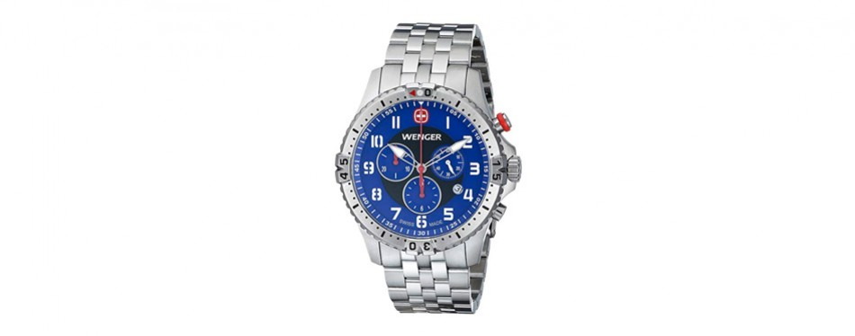 wenger men's 77060 squadron chrono analog display swiss quartz silver watch