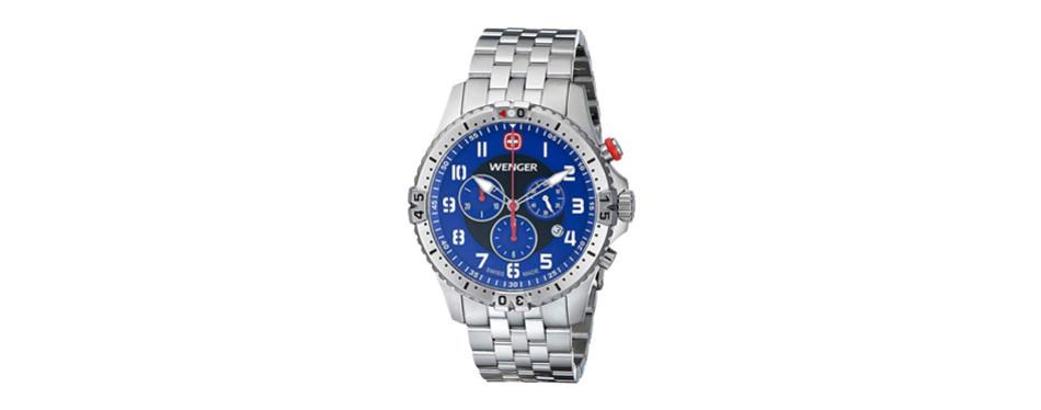 wenger men's 77060 squadron chrono analog display swiss quartz silver watch