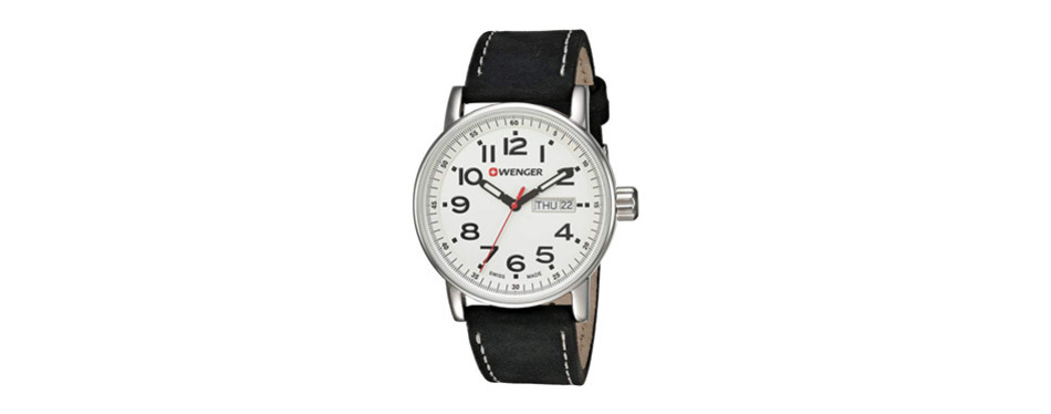 wenger men's 'attitude day/date' swiss quartz stainless steel casual watch